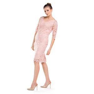 Koronkowa różowa midi sukienka