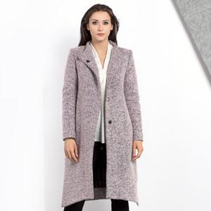 Asymetryczny różowy płaszcz na zimę