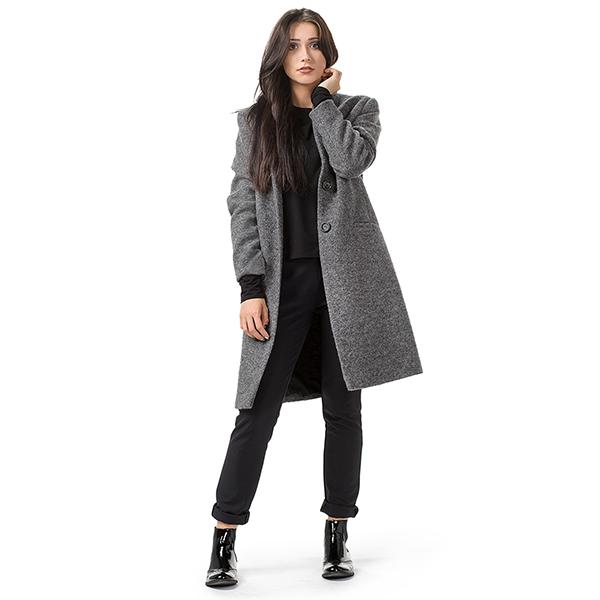 Ciemnoszary wełniany płaszcz