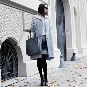 Szary asymetryczny płaszcz