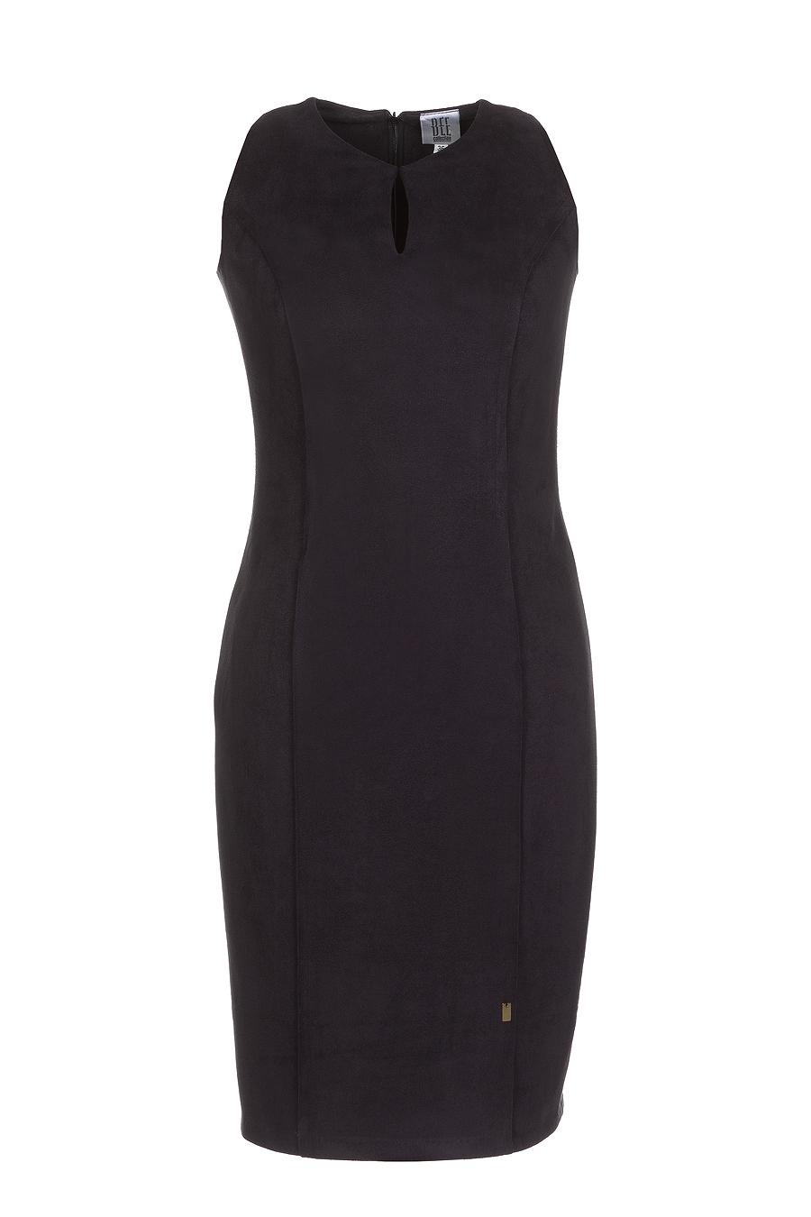 Zamszowa czarna sukienka midi