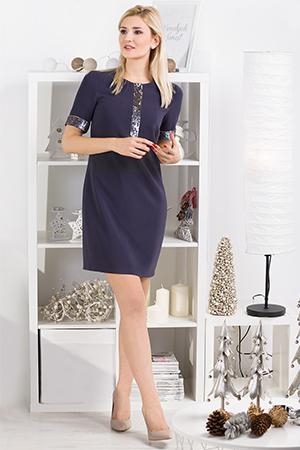 Klasyczna niebieska sukienka z cekinami