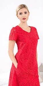 Czerwona sukienka koronkowa midi
