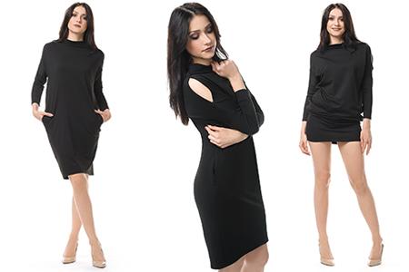 Czarna sukienka typu nietoperz