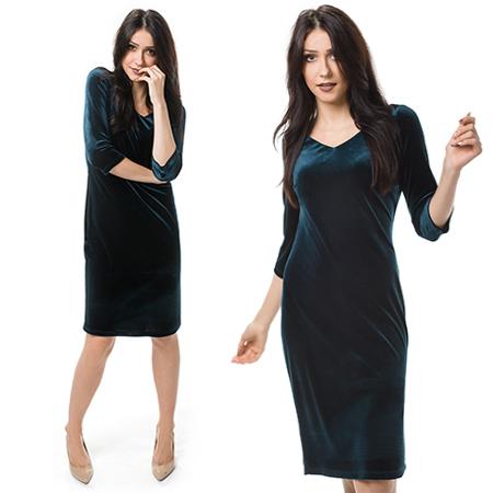 Szmaragdowa sukienka z welwetu