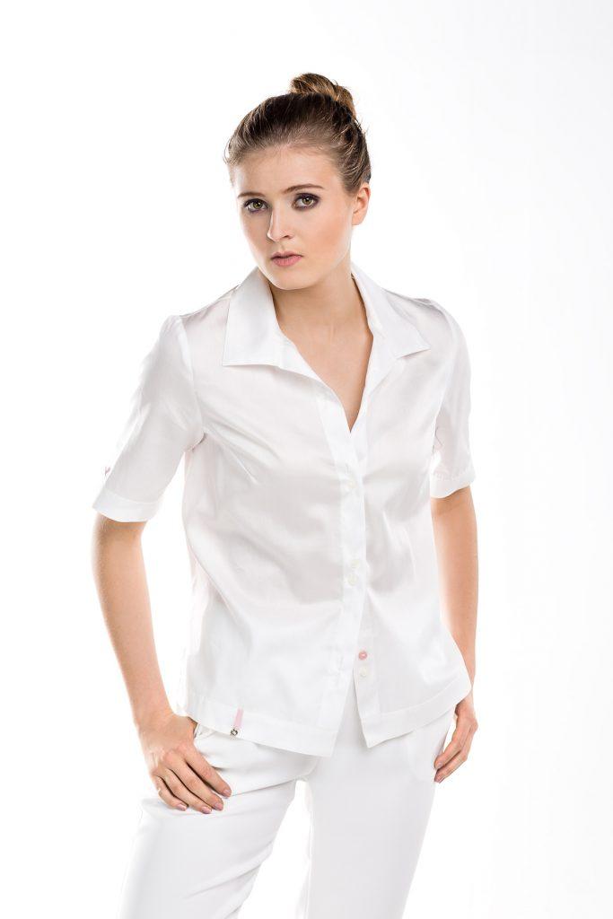 Asymetryczna elegancka biała bluzka