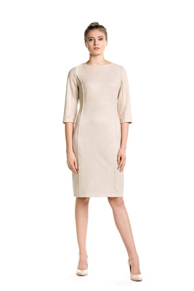 Beżowa zamszowa elegancka sukienka midi