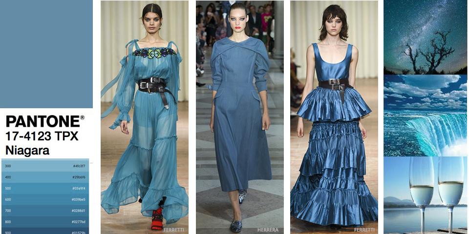 Modny kolor jeansowy, lazurowy, szaro-niebieski