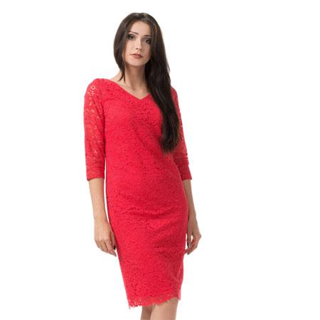 Czerwona koronkowa sukienka na wesele