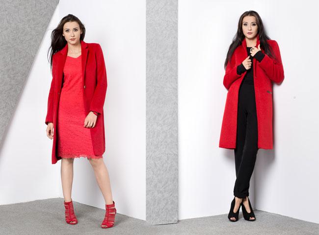 czerwony-płaszcz na guziki płaszcze na jesień