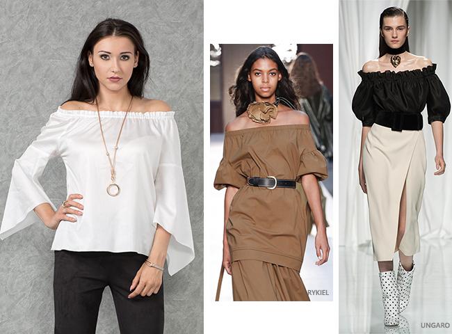 Trendy wiosenne, bluzka hiszpanka z odkrytymi ramionami