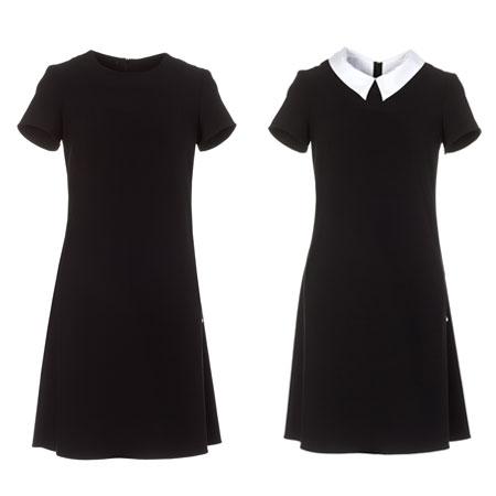 Czarna trapezowa sukienka z kołnierzykiem