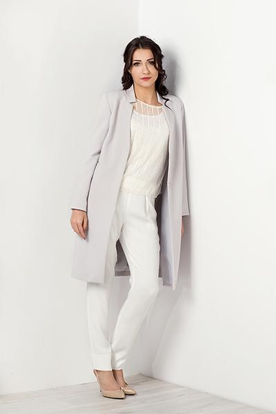 Długi elegancki popielaty płaszcz