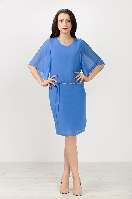 Szyfonowa sukienka midi, błekitna oversize