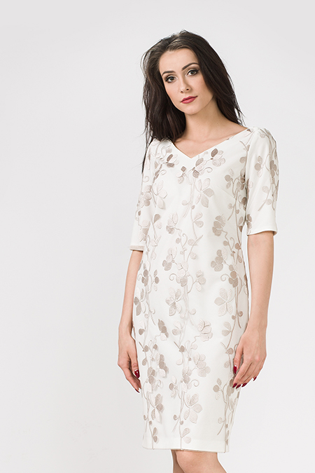 Koronka sukienka z gipiurą kremowa