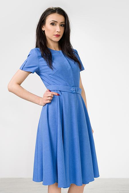 Niebieska rozkloszowana retro - idealna sukienka na komunię