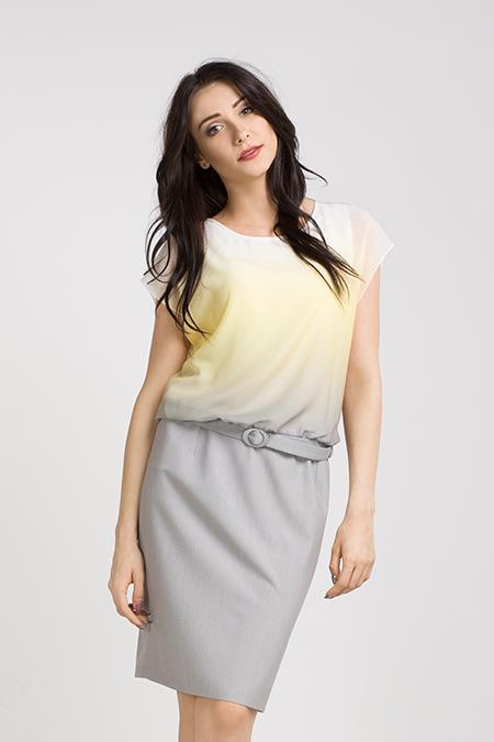 Ołówkowa sukienka, szara z cytrynową, szyfonową górą
