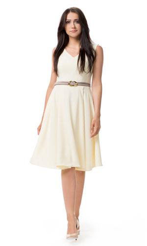 Rozkloszowana cytrynowa sukienka na wesele