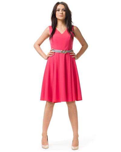 Malinowa rozkloszowana sukienka midi