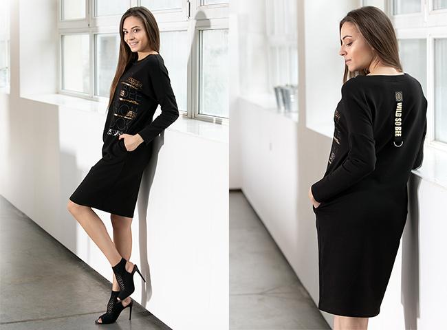 Dzianinowa sukienka z autorskim nadrukiem, tuszująca brzuch PEMA