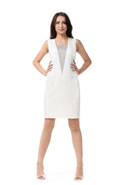 Biała sukienka na lato, midi z geometrycznymi wstawkami