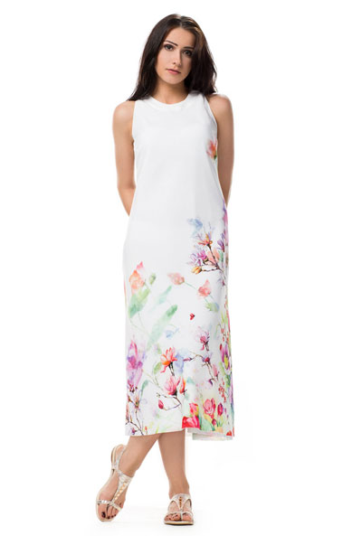 Biała prosta sukienka na lato z kwiatowym nadrukiem