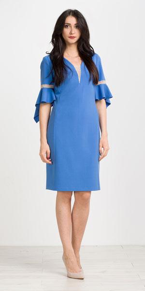 Niebieska sukienka na wesele z rozkloszowanymi rękawami