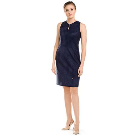 Granatowa dopasowana sukienka midi