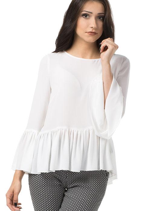 Koszulowa bluzka z falbanami