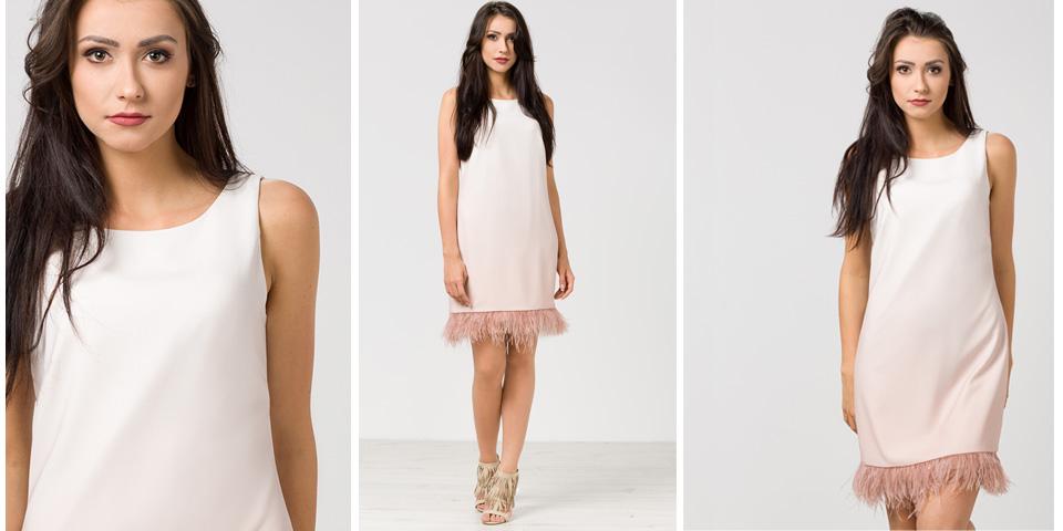 Stylizacje na walentynki nie muszą być czerwone - tutaj różowa sukienka z piórkami