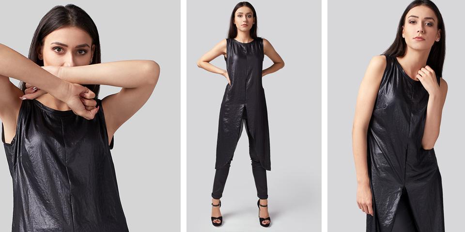 Połyskująca tunika z efektem skóry ze spodniami to ciekawa stylizacja na walentynki
