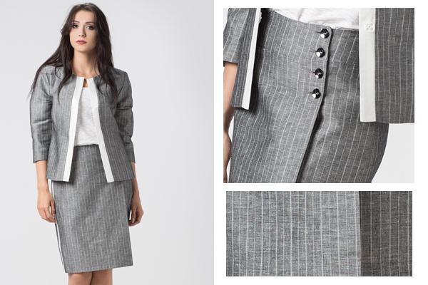 Lniana asymetryczna spódnica pokazuje, że spódnice ołówkowe nie zawsze muszą być opięte