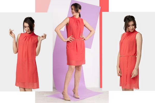 Luźna sukienka midi z półgolfikiem PINKO to wiosenna sukienka w najmodniejszym kolorze