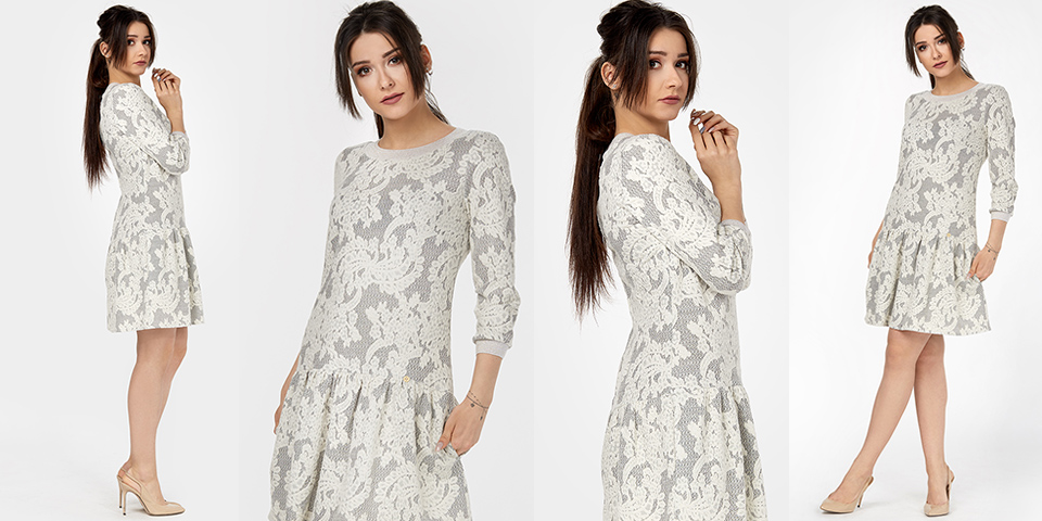 Trendy sezonu to bawełniany żakardowy tłoczony wzór w sukience midi z rękawem CELINA