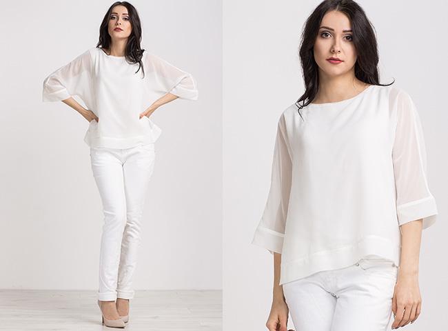 Biała bluzka koszulowa oversizowa bluzka Comi