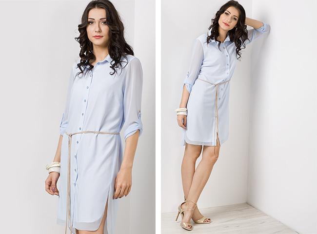 Długie bluzki koszulowe kolorowe mogą być noszone jako sukienka - tutaj Hortensja z cekinami