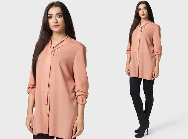 Kolorowa bluzka koszulowa Passe, w modnym kolorze cielistym, doskonale zastąpi klasyczną biel