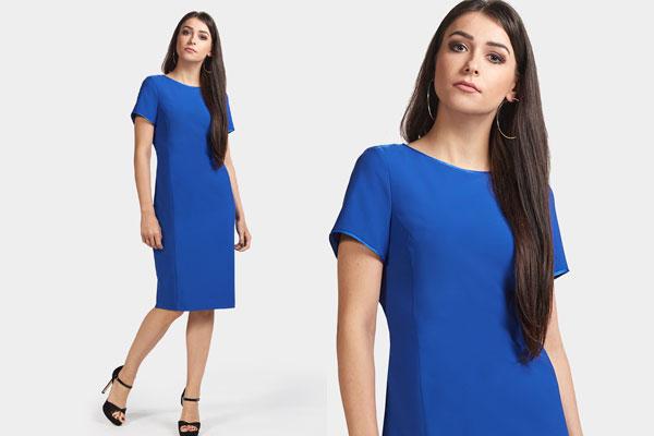 Klasyczna sukienka midi kobaltowa