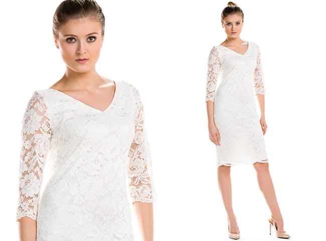 Elegancka sukienka dla druhny z koronki w kremowej bieli, do kolan z rękawem Bee Collection