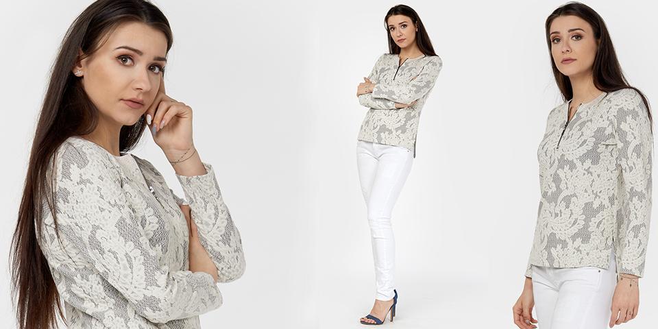 Trendy na wiosnę to bluzka Madera z długim rękawem i suwakiem w dekolcie MADERA