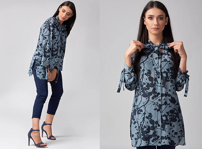 Bluzka koszulowa kolorowa, jedwabna, wiązana, elegancka Passe
