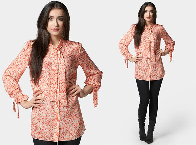 Elegancka bluzka koszulowa kolorowa, wiązana w grochy