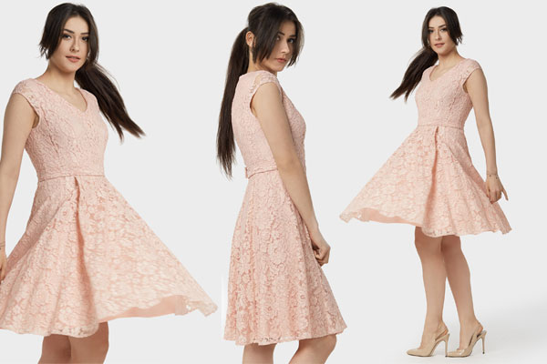 Kororonkowa rozkloszowana midi sukienka Malina to doskonała sukienka komunijna dla gościa
