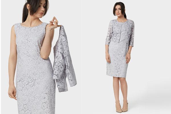 Koronkowy komplet: narzutka i sukienka na komunię dla mamy