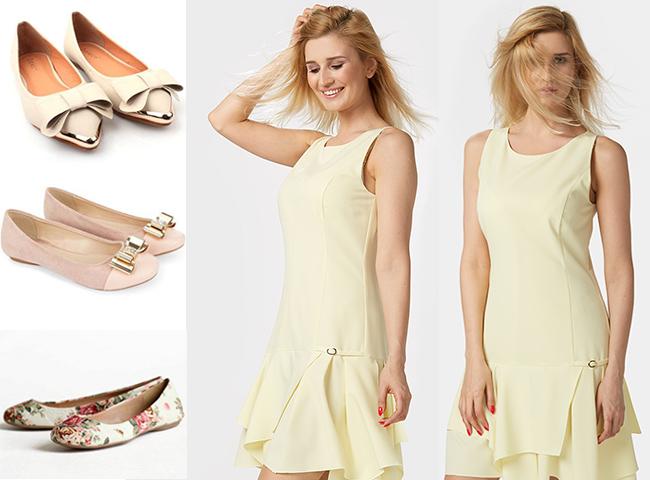 Do czego nosić baleriny? Do mini takich jak pastelowa sukienka PRALINA