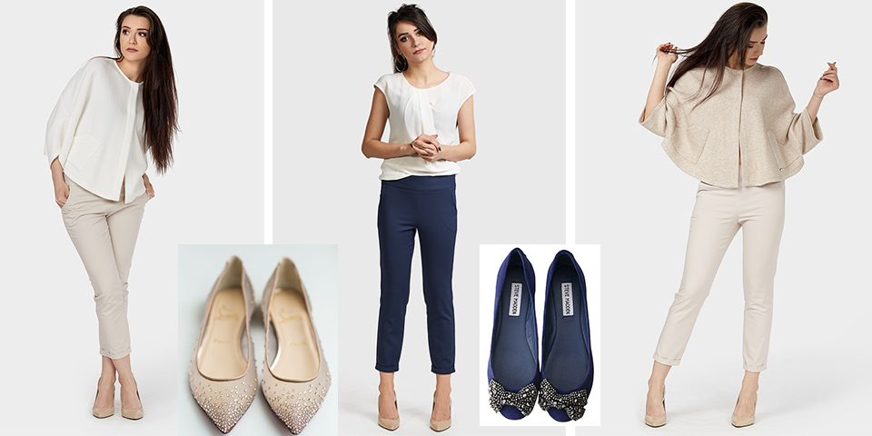 Eleganckie spodnie 7/8 to przykład tego, do czego nosimy baleriny i baletki