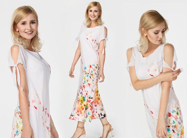 Letnie sukienki w kwiaty z wiązanymi rękawkami - jak Gina - to hit sezonu