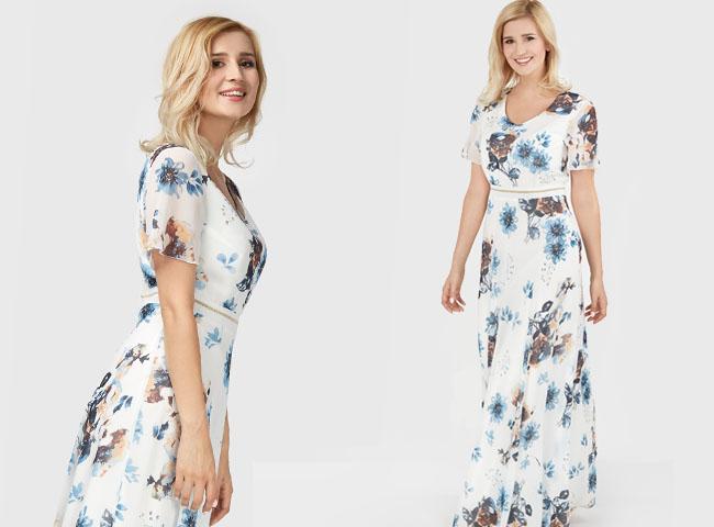Sukienka o długości maxi w niebieskie kwiaty z rękawem