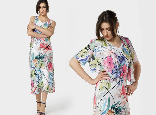 Letnie sukienki w kratę to nowość, tutaj krata po skosie, z kwiatami z narzutką