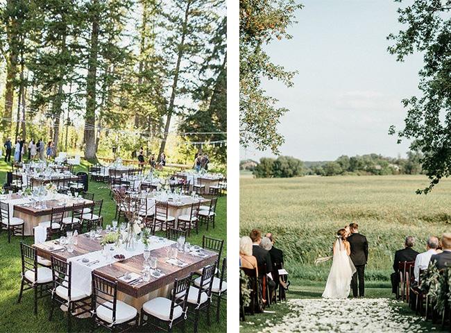 Uroczystość weselna w plenerze to wyzwanie dla stroju.